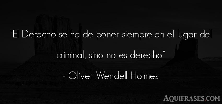 Frase de política  de Oliver Wendell Holmes. El Derecho se ha de poner