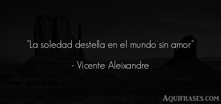 Frase del medio ambiente  de Vicente Aleixandre. La soledad destella en el