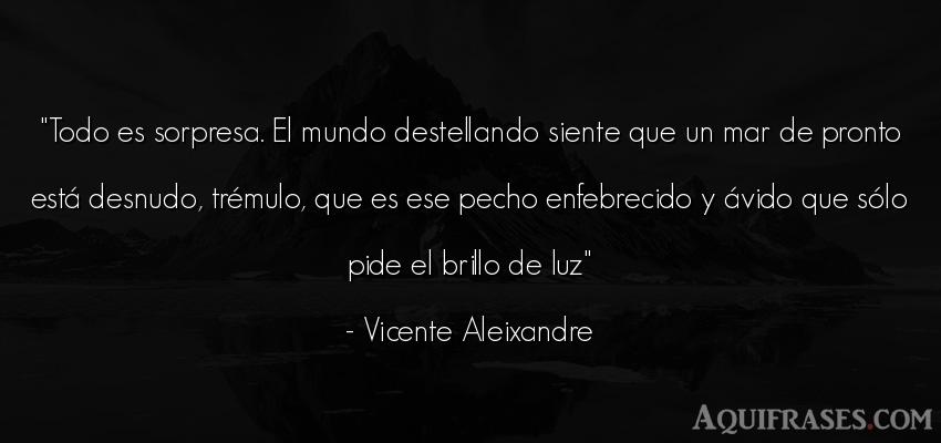 Frase del medio ambiente  de Vicente Aleixandre. Todo es sorpresa. El mundo