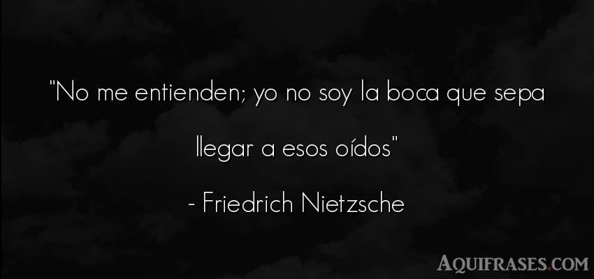 Frase filosófica  de Friedrich Nietzsche. No me entienden; yo no soy