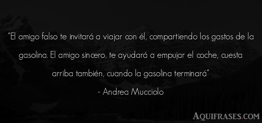 Frase de amistad  de Andrea Mucciolo. El amigo falso te invitará