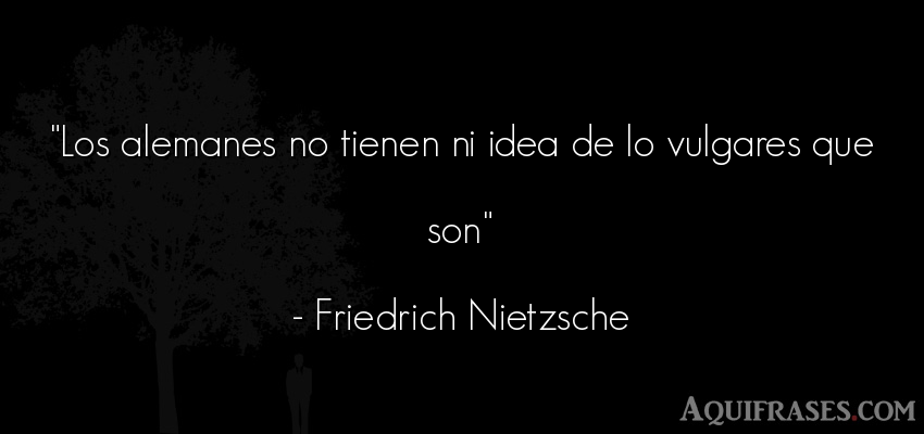 Frase filosófica  de Friedrich Nietzsche. Los alemanes no tienen ni