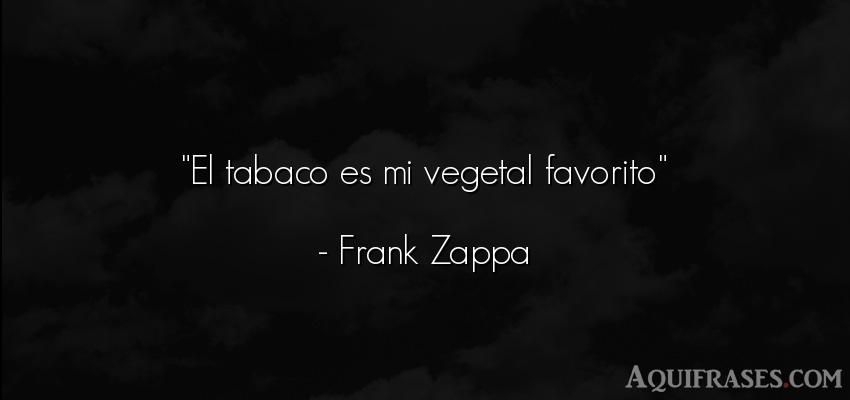 Frase divertida,  graciosas corta  de Frank Zappa. El tabaco es mi vegetal