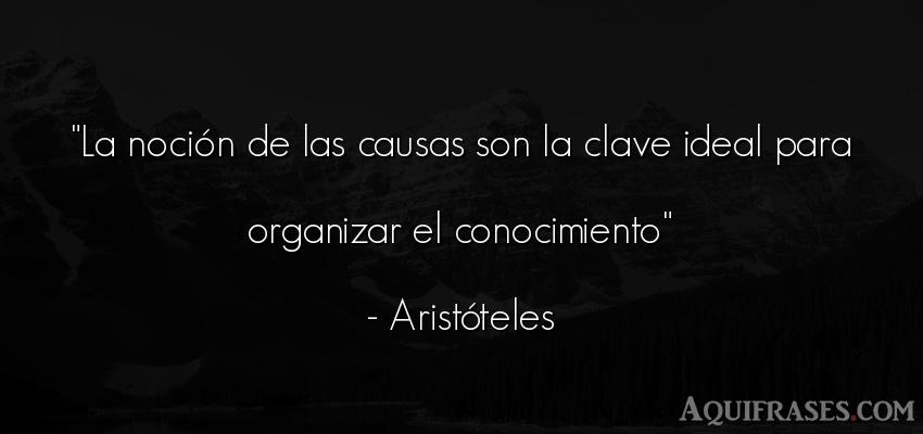 Frase sabia,  filosófica  de Aristóteles. La noción de las causas son