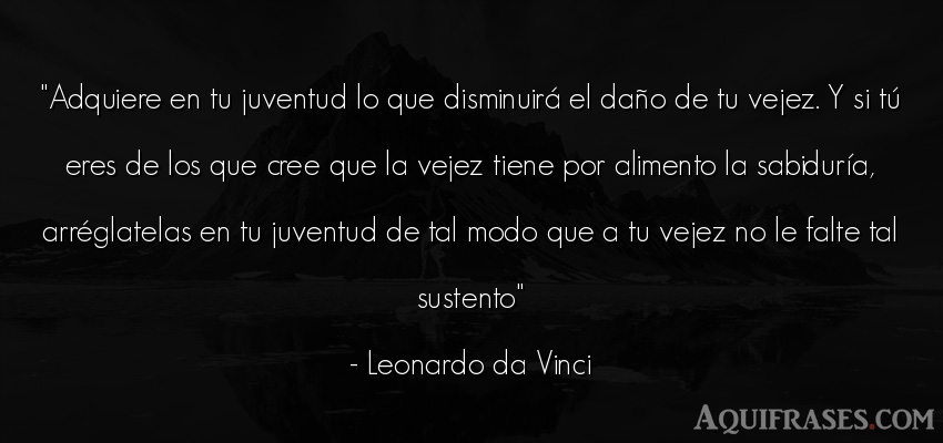 Frase sabia  de Leonardo Da Vinci. Adquiere en tu juventud lo
