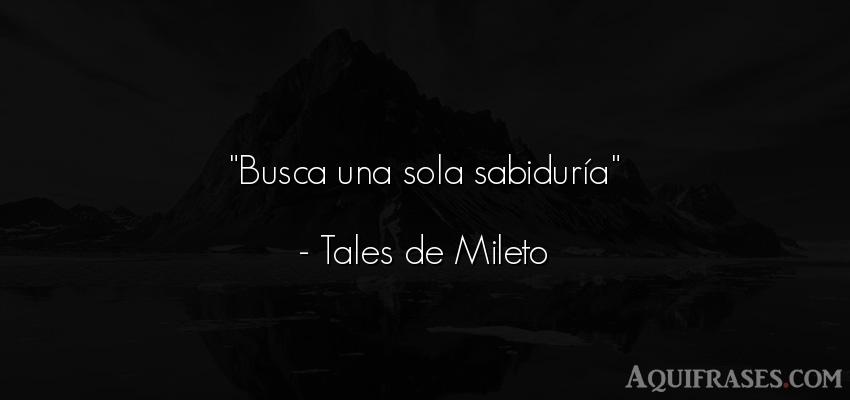 Frase sabia,  sabias corta  de Tales de Mileto. Busca una sola sabiduría