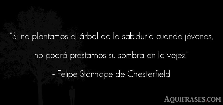 Frase sabia  de Felipe Stanhope de Chesterfield. Si no plantamos el árbol de