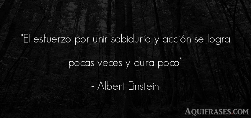 Frase sabia  de Albert Einstein. El esfuerzo por unir sabidur