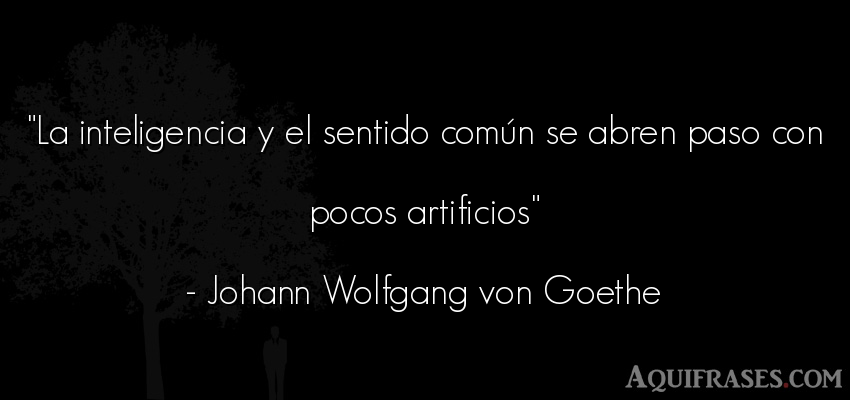 Frase de inteligencia  de Johann Wolfgang von Goethe. La inteligencia y el sentido