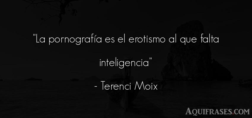 Frase de inteligencia  de Terenci Moix. La pornografía es el
