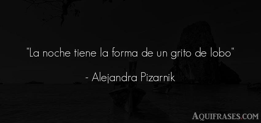 Frase de buenas noche  de Alejandra Pizarnik. La noche tiene la forma de