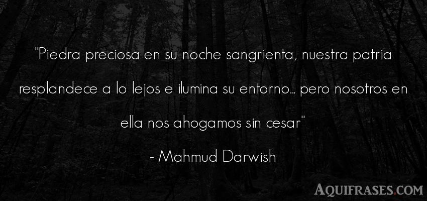 Frase de buenas noche  de Mahmud Darwish. Piedra preciosa en su noche