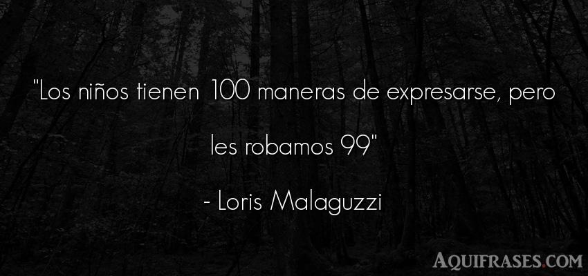 Frase de niño  de Loris Malaguzzi. Los niños tienen 100