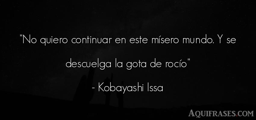 Frase del medio ambiente  de Kobayashi Issa. No quiero continuar en este