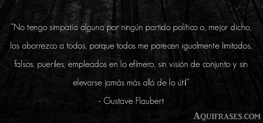 Frase de política  de Gustave Flaubert. No tengo simpatía alguna
