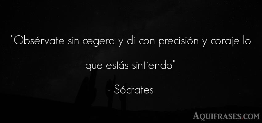 Frase filosófica,  de perseverancia  de Sócrates. Obsérvate sin cegera y di