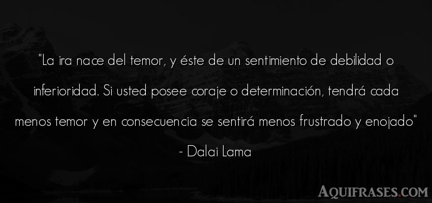 Frase de perseverancia  de Dalai Lama. La ira nace del temor, y é