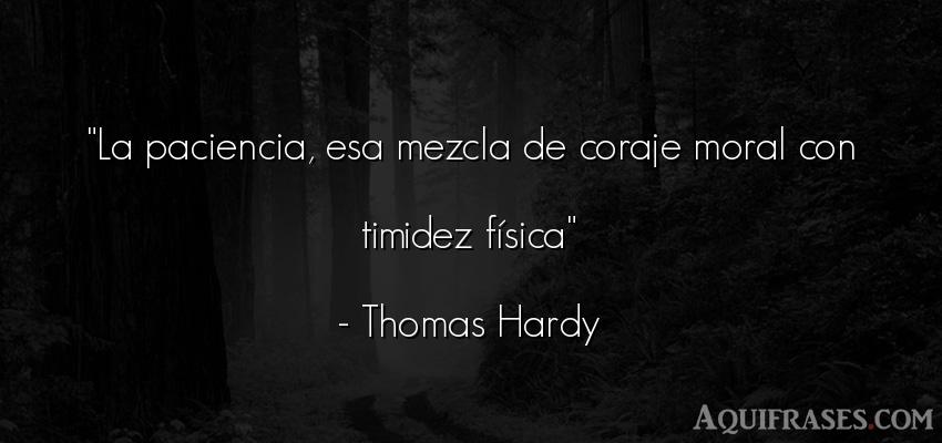 Frase de perseverancia  de Thomas Hardy. La paciencia, esa mezcla de
