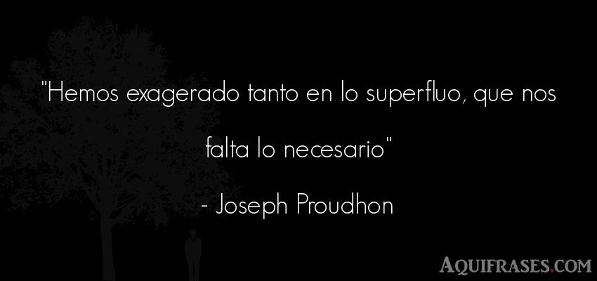 Frase para reflexionar,  de reflexion corta  de Joseph Proudhon. Hemos exagerado tanto en lo
