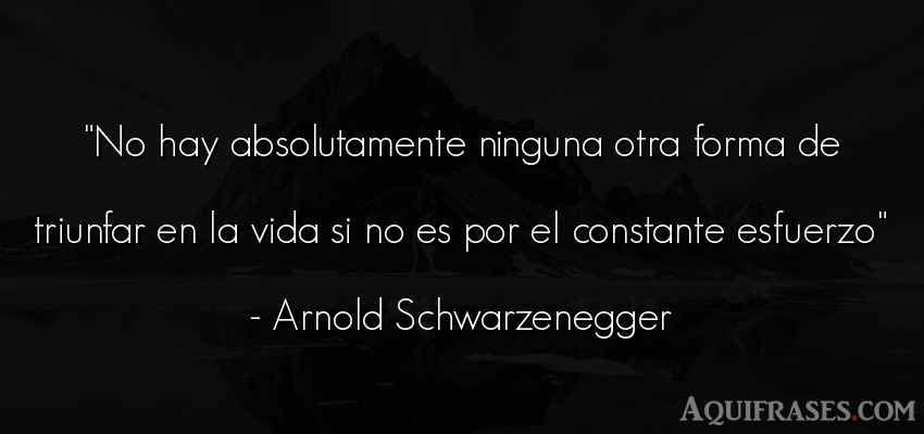 Frase motivadora  de Arnold Schwarzenegger. No hay absolutamente ninguna