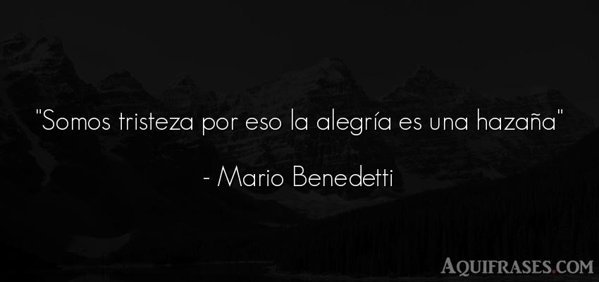 Frase de tristeza,  de alegría  de Mario Benedetti. Somos tristeza por eso la