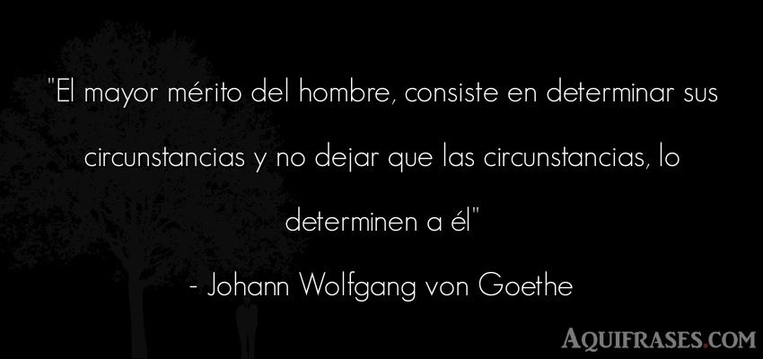 Frase motivadora,  sabia  de Johann Wolfgang von Goethe. El mayor mérito del hombre
