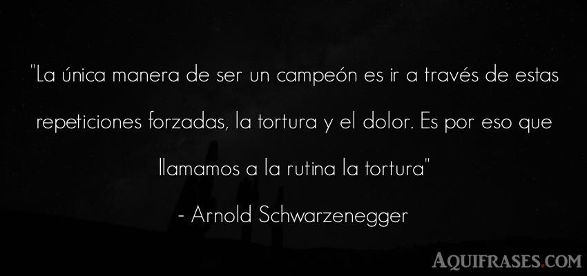 Frase motivadora,  de perseverancia,  de fuerza  de Arnold Schwarzenegger. La única manera de ser un