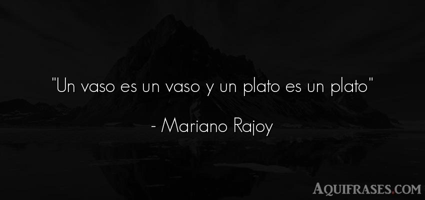 Frase divertida,  de sarcasmo  de Mariano Rajoy. Un vaso es un vaso y un