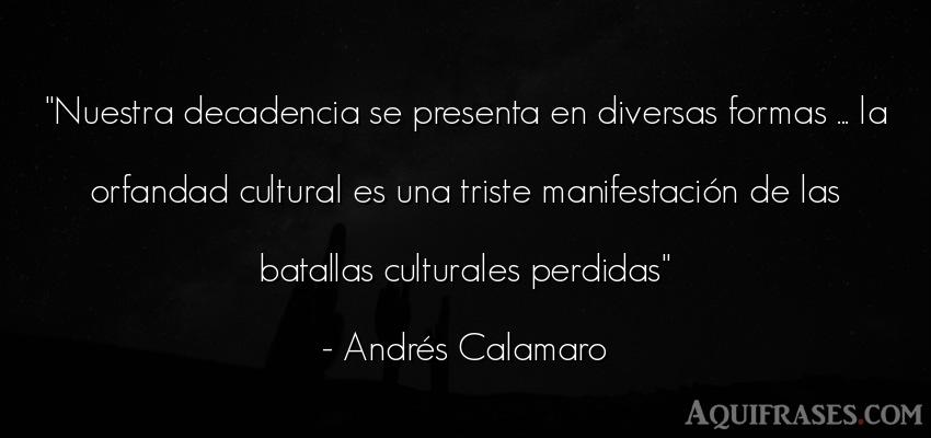 Frase de educación,  de sociedad  de Andrés Calamaro. Nuestra decadencia se