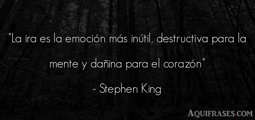 Frase de odio,  de la vida  de Stephen King. La ira es la emoción más
