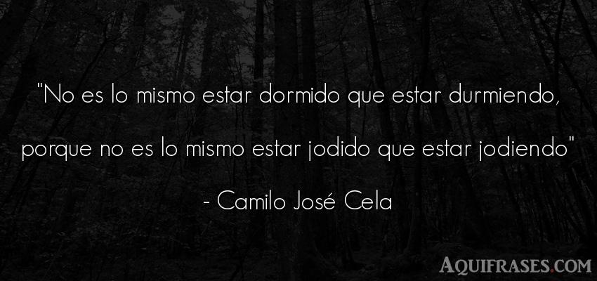 Frase divertida  de Camilo José Cela. No es lo mismo estar dormido