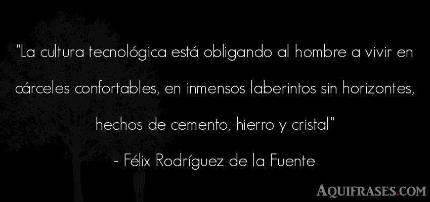 Frase sabia,  de hombre,  de sociedad  de Félix Rodríguez de la Fuente. La cultura tecnológica est