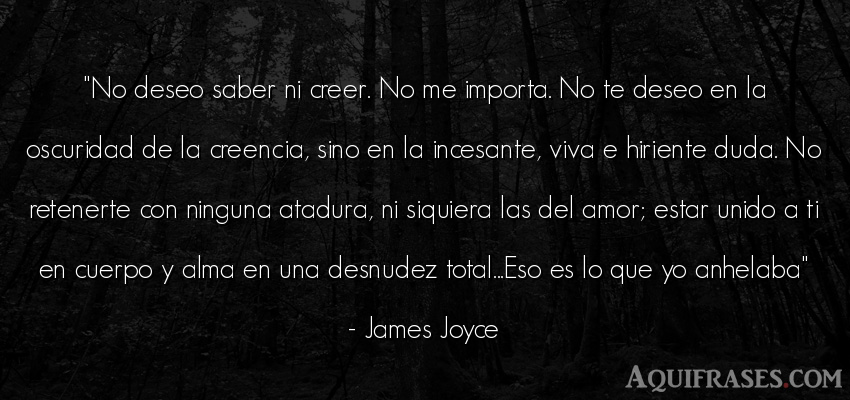 Frase de amor  de James Joyce. No deseo saber ni creer. No