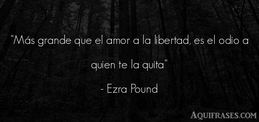 Frase de amor  de Ezra Pound. Más grande que el amor a la