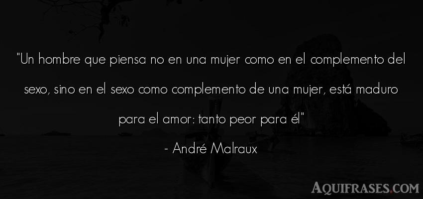 Frase de amor,  de sexo  de André Malraux. Un hombre que piensa no en