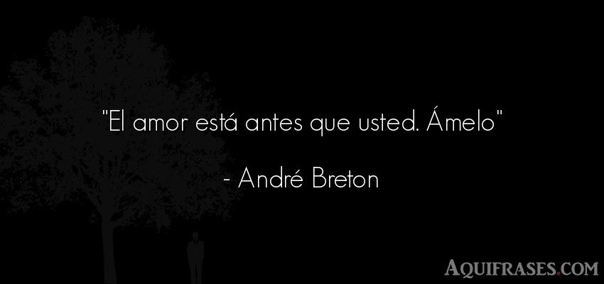 Frase de amor,  de amor corta  de André Breton. El amor está antes que