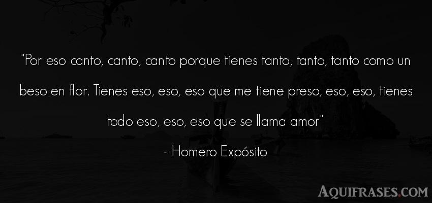 Frase de amor  de Homero Expósito. Por eso canto, canto, canto