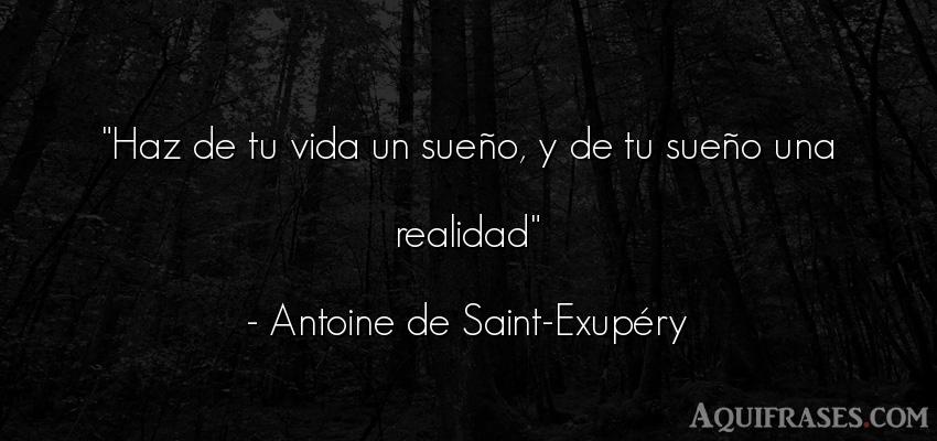 Frase de la vida  de Antoine de Saint-Exupery. Haz de tu vida un sueño, y