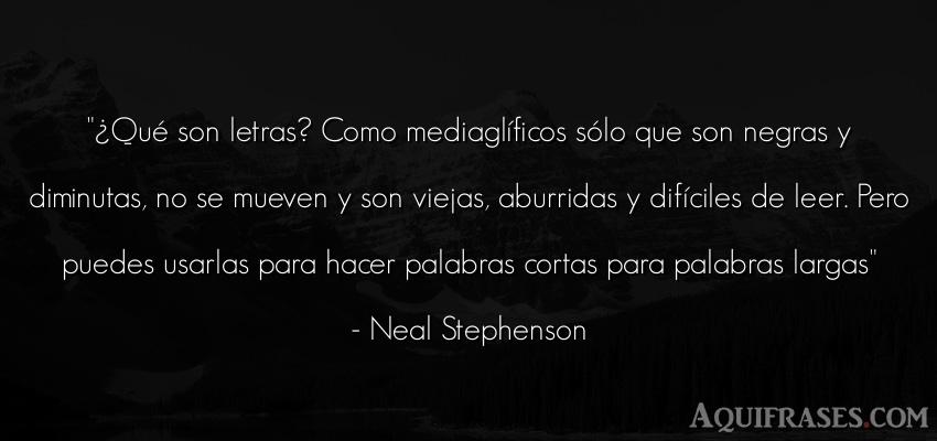 Frase de aburrimiento  de Neal Stephenson. ¿Qué son letras? Como