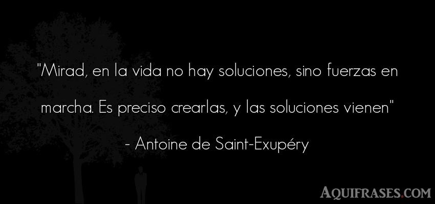 Frase de la vida  de Antoine de Saint-Exupery. Mirad, en la vida no hay