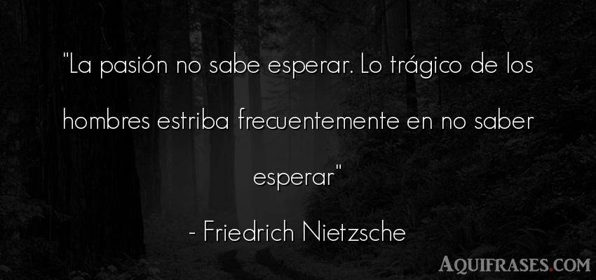 Frase filosófica,  de hombre  de Friedrich Nietzsche. La pasión no sabe esperar.