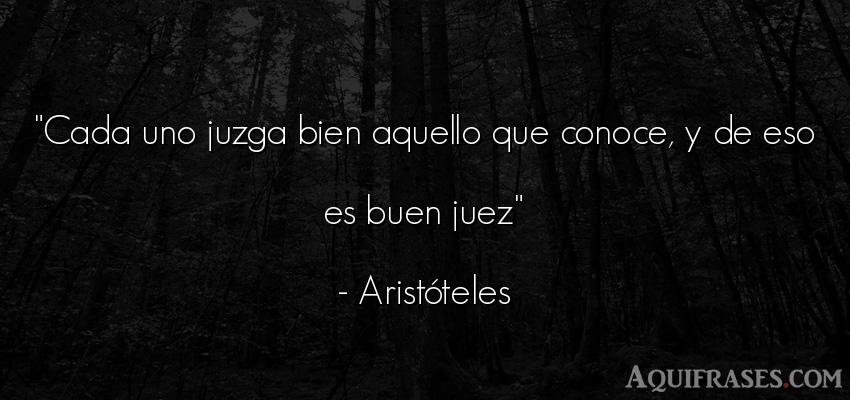 Frase filosófica  de Aristóteles. Cada uno juzga bien aquello