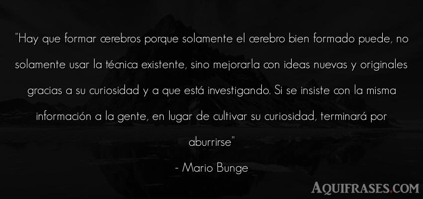 Frase de aburrimiento  de Mario Bunge. Hay que formar cerebros
