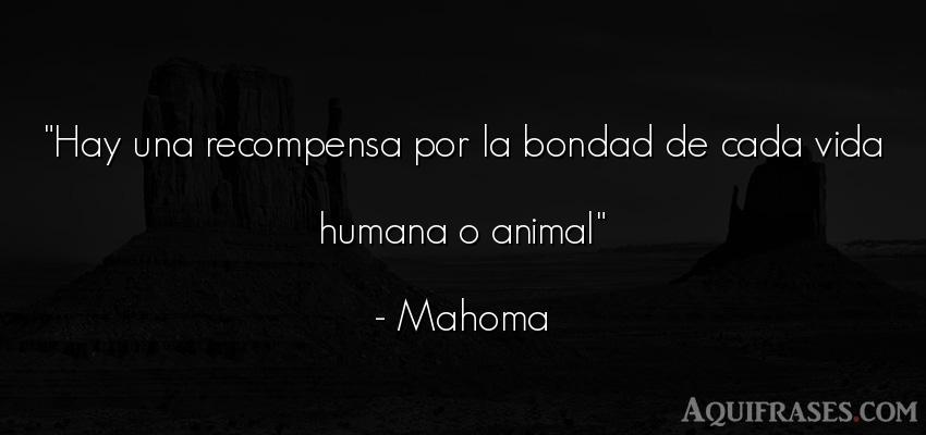 Frase de la vida,  de animales  de Mahoma. Hay una recompensa por la
