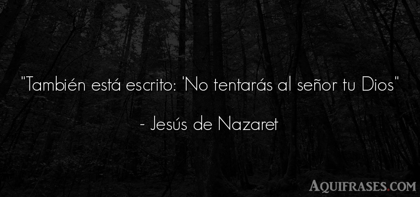 Frase de dio,  de fe  de Jesús de Nazaret. También está escrito: 'No