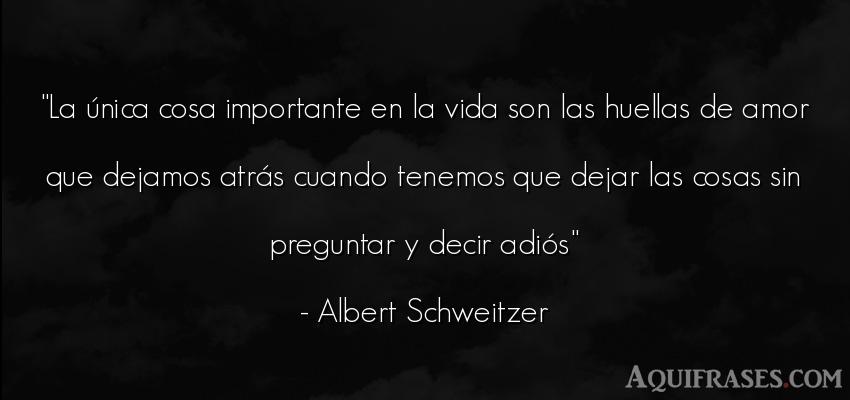Frase de la vida  de Albert Schweitzer. La única cosa importante en