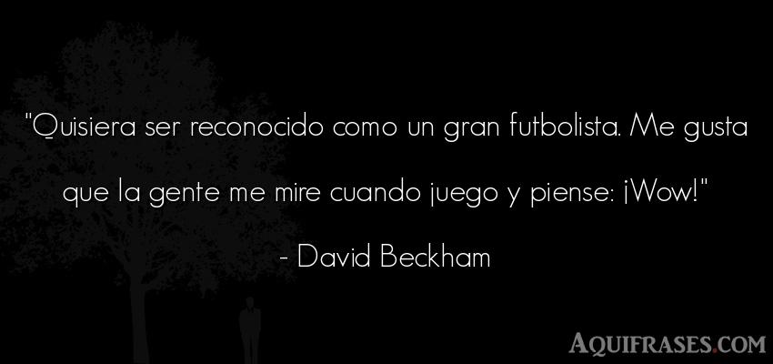 Frase de fútbol,  deportiva,  de sociedad  de David Beckham. Quisiera ser reconocido como