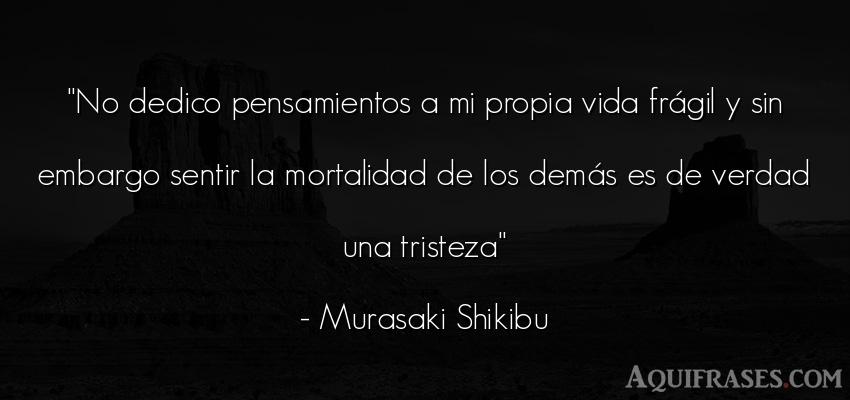 Frase de tristeza,  de la vida  de Murasaki Shikibu. No dedico pensamientos a mi