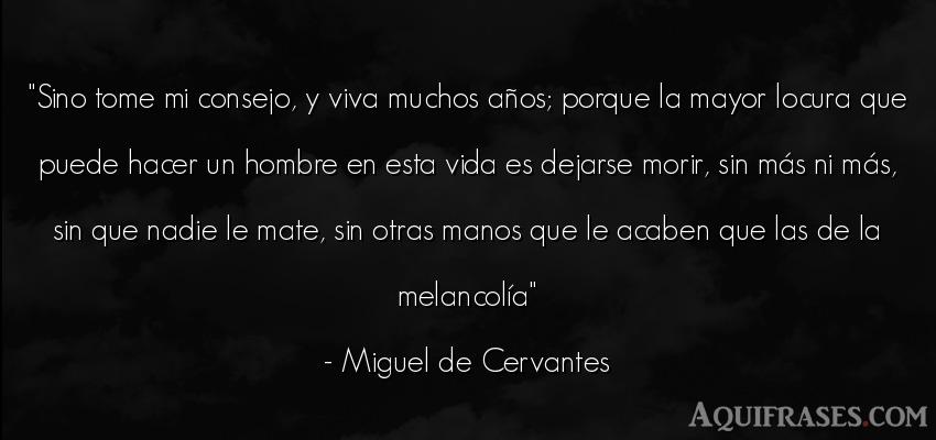 Frase de la vida  de Miguel de Cervantes. Sino tome mi consejo, y viva