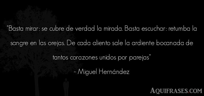 Frase realista  de Miguel Hernández. Basta mirar: se cubre de